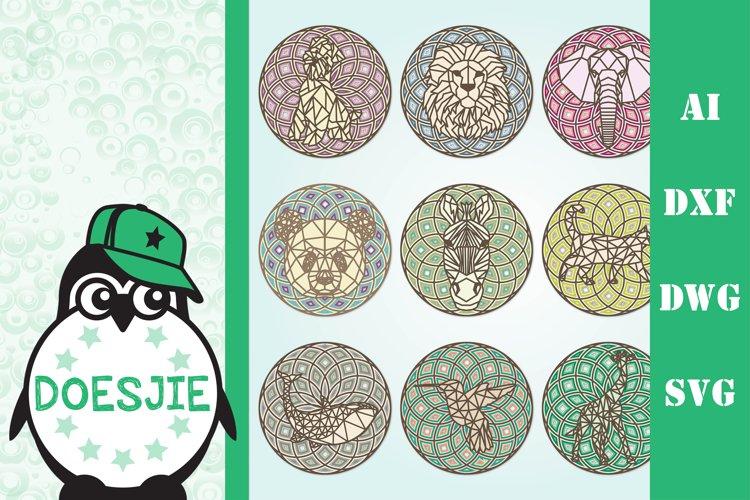Bundle of 9 animal mandala example image 1