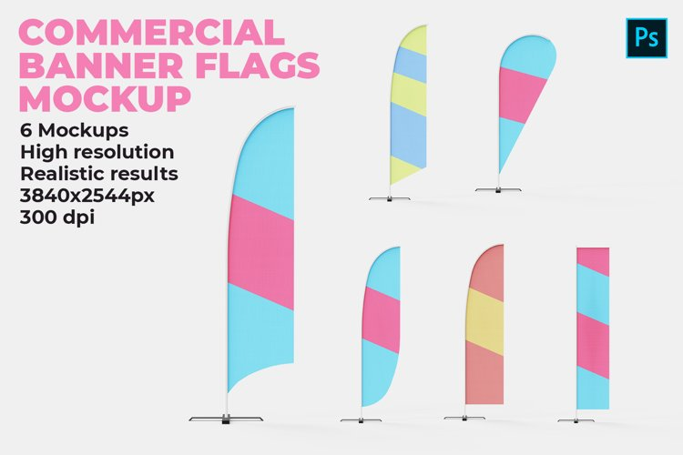 Commercial Banner Flags Mockup example image 1