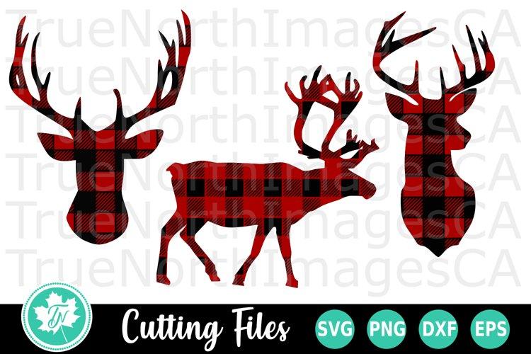 Reindeer SVG   Deer SVG   Buffalo Plaid SVG example image 1