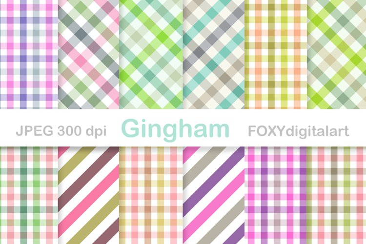 Gingham Digital Paper Pack Table Cloth Patterns example image 1