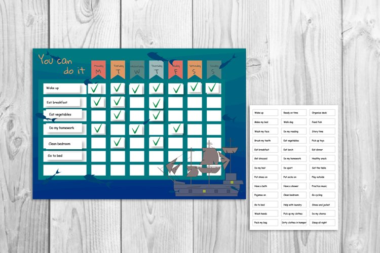 Kids reward chart, Ship graphic