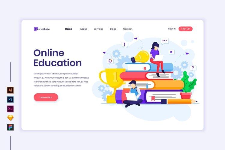 Online Education concept flat Illustration landing page