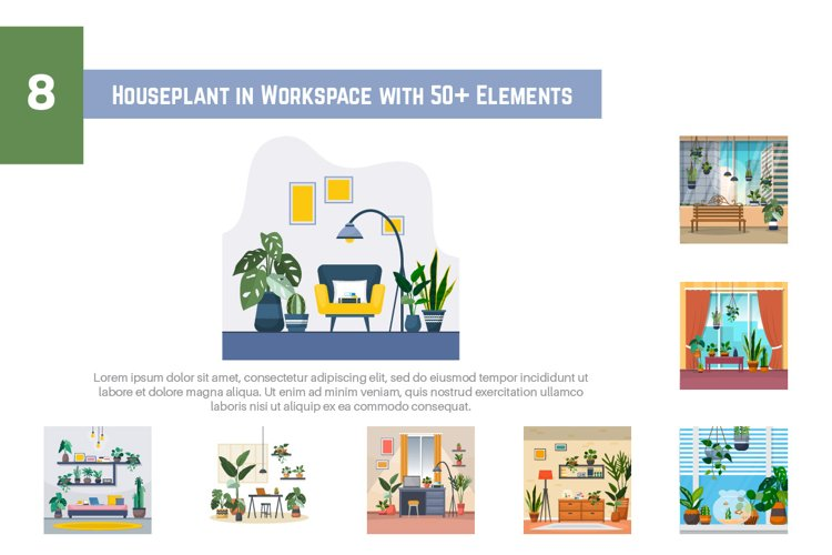 8 Houseplant in Workspace with 50 Elements