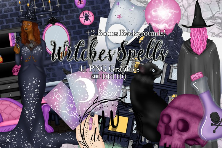 Witch Halloween Clipart, Magic Spooky Halloween Graphics