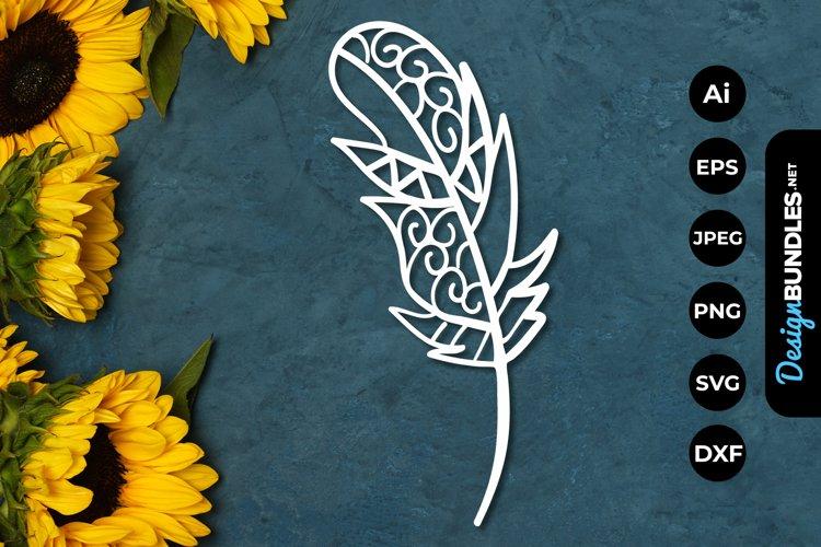 Feather Mandala Papercut example image 1