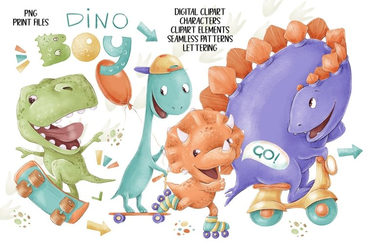 Dino boys clip art set.