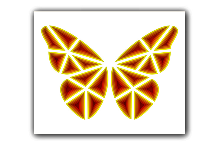 Layered Butterfly SVG, Cut file Mandala, 3D Butterfly example image 1