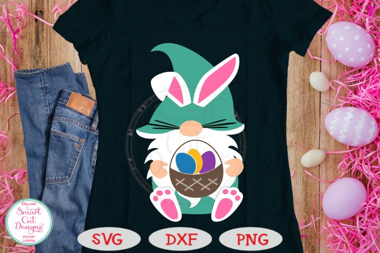 Easter Gnome SVG, Easter Kids SVG, Bunny Gnome,Easter Basket example image 1