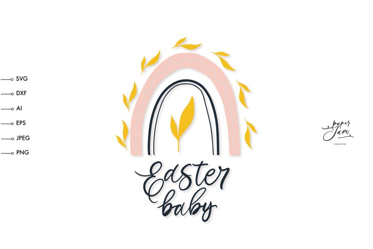 Easter baby onesie shirt SVG, Easter rainbow svg, easter svg example image 1