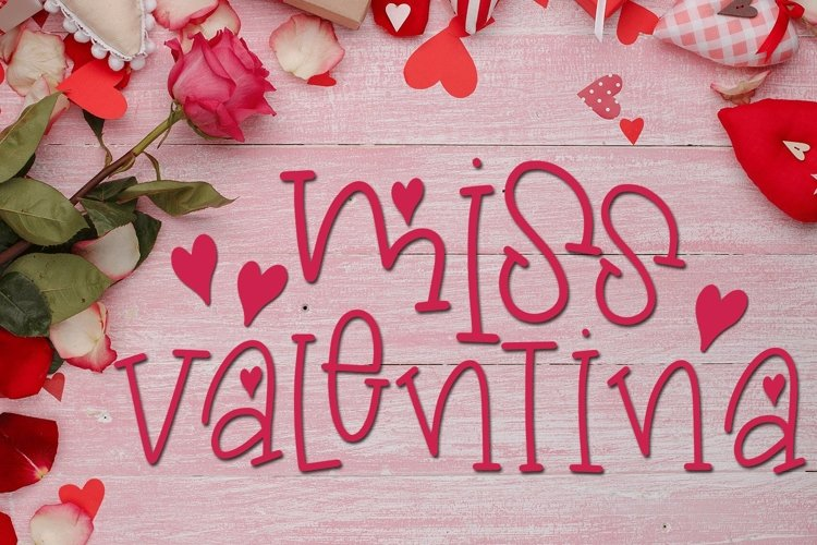 Web Font Valentine's Day Font - Miss Valentina example image 1