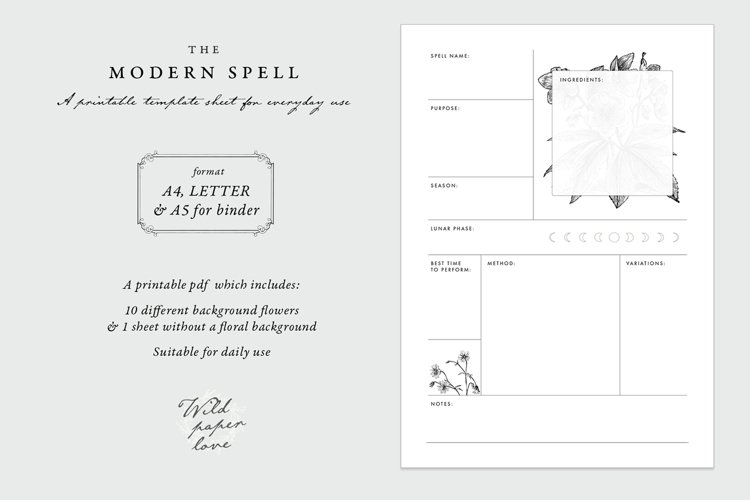 Spell Template - Printable A4 Letter A5 Binder - PDF