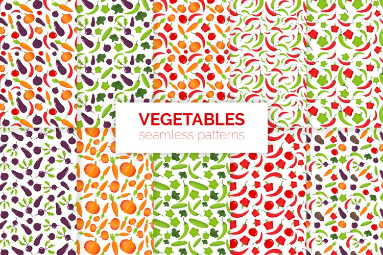 Vegetables Seamless Patterns example image 1