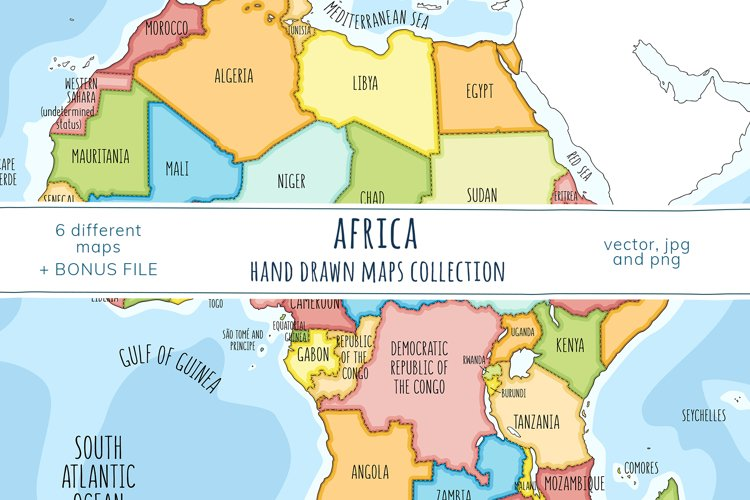 Maps of Africa. Hand drawn collection