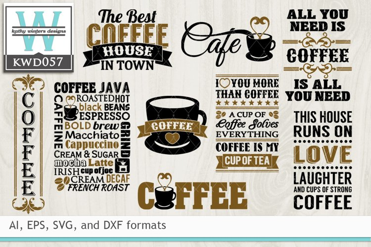 BUNDLED Coffee Cutting Files KWD057 example image 1