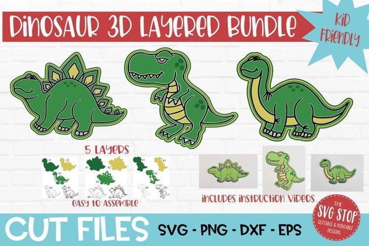 3D Layered SVG for Kids Crafts Dinosaur Bundle