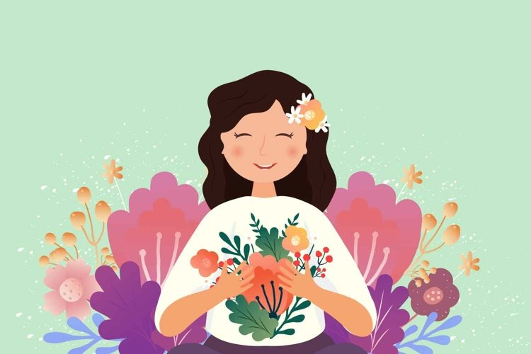 Smiling woman with flowers. Mother's day card example image 1
