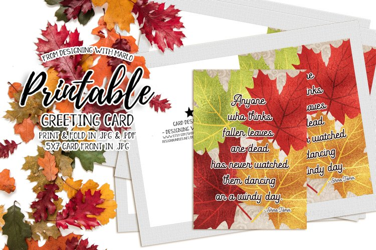 Dancing Leaves Quote - Autumn Season Printable Greeting Card example image 1