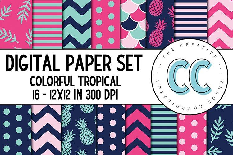 Tropical, Preppy ColorfulDigital Paper Pack