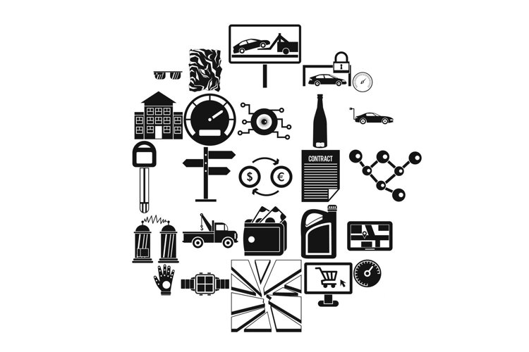 Autotravel icons set, simple style example image 1