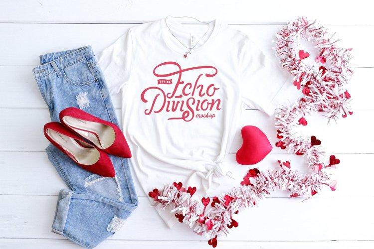 Valentine Shirt Mockup - Bella Canvas 3001 - White