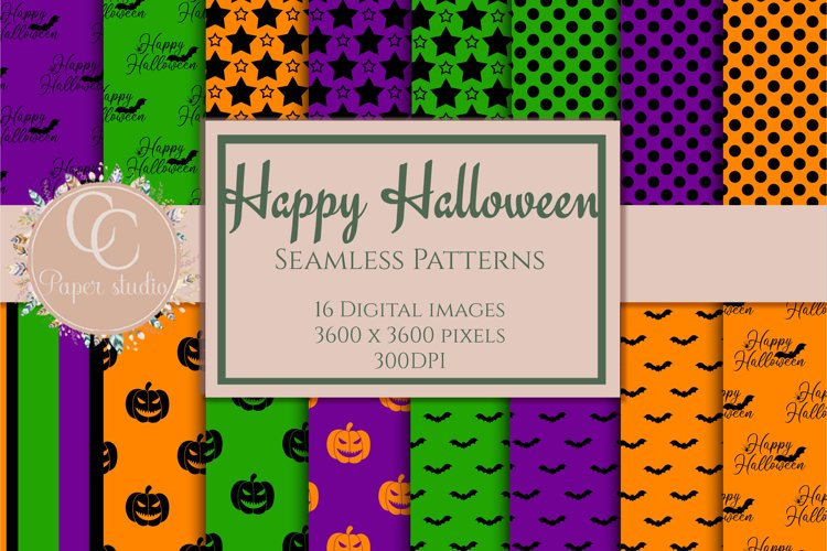 Happy Halloween seamless patterns digital paper example image 1