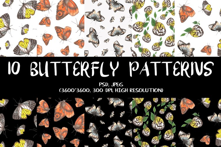10 Hand-Drawn Butterfly Patterns.
