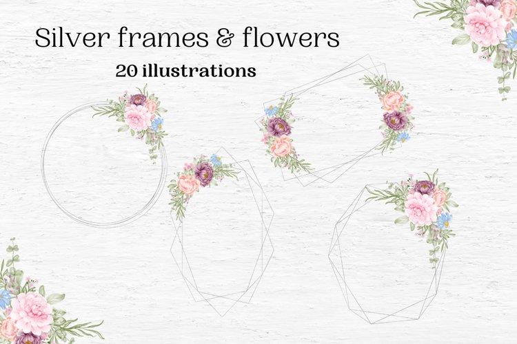 Silver Geometric Frames, Silver Wedding Frames