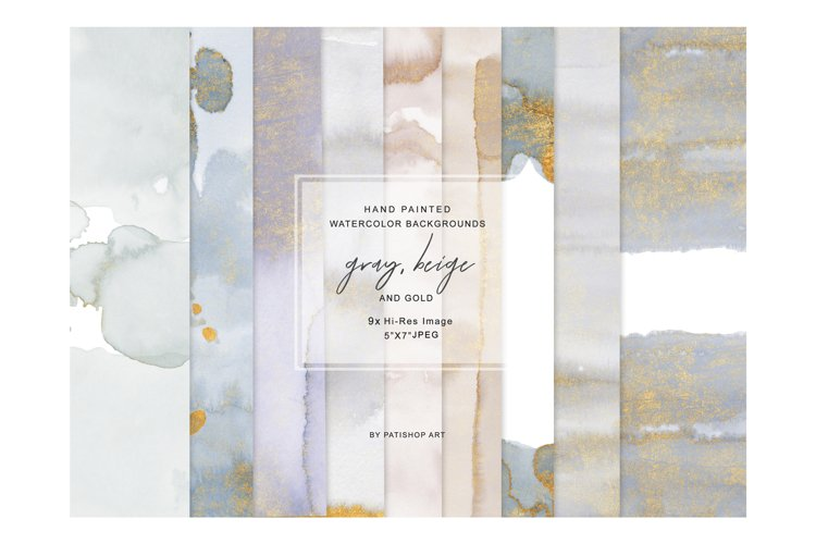 Watercolor Glittered Gray & Beige Background 5x7 example image 1