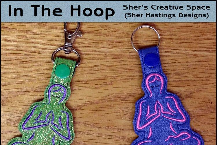 ITH Yoga Vinyl Key Fob or Bag Tag - Snap Tab Machine Embroidery example image 1