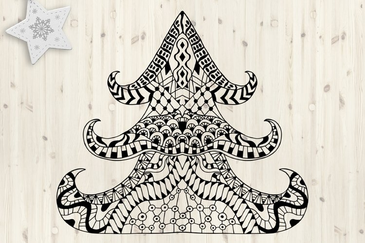 Christmas tree SVG. Merry Christmas Svg. Zentangle clipart. example image 1
