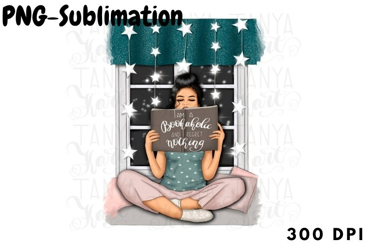 Reading Girl   Png For Sublimation example image 1