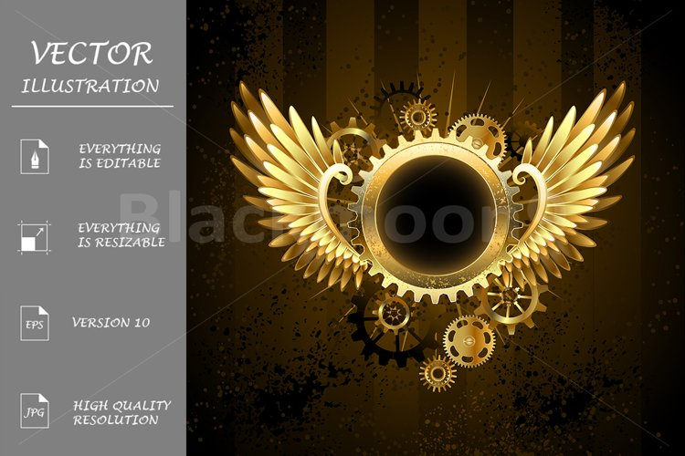 Round banner with Steampunk wings example image 1