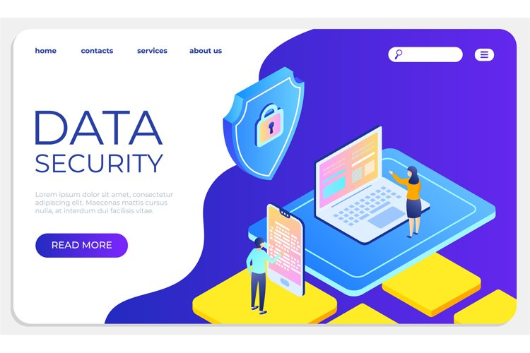 Data security isometric landing concept. Protect data and co example image 1