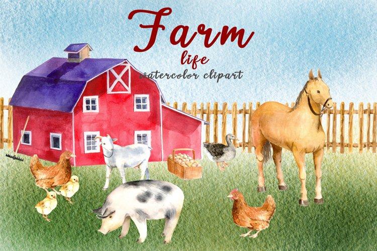 Watercolor clipart FARM life