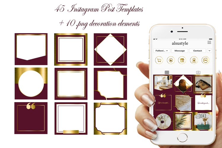 45 Burgundy Gold Instagram Post Templates, canva templates