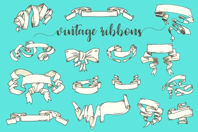 Vintage Ribbons and Banners Hand Drawn Vector Set
