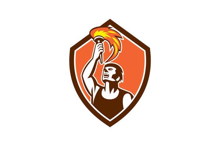 Athlete Player Raising Flaming Torch Shield Retro example image 1