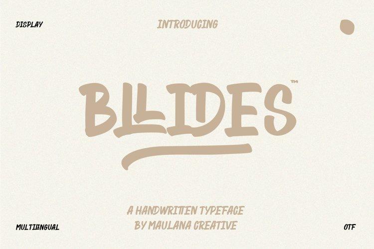 Bllides Handwritten Typeface Font example image 1