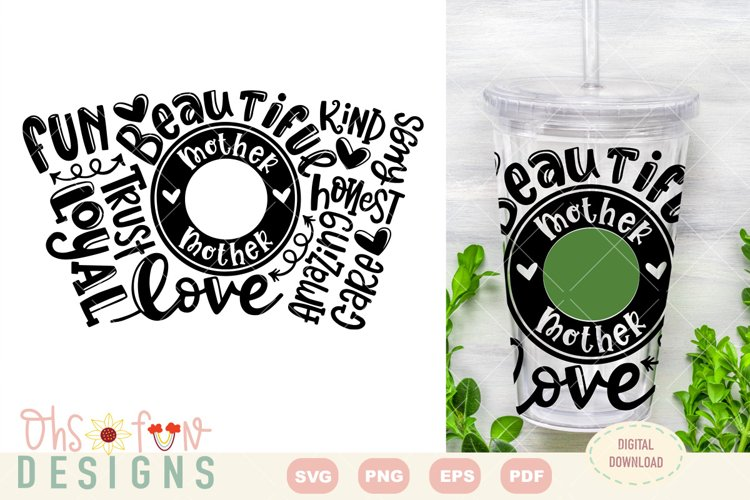 SVG beautiful mother seamless venti cold cup| typography