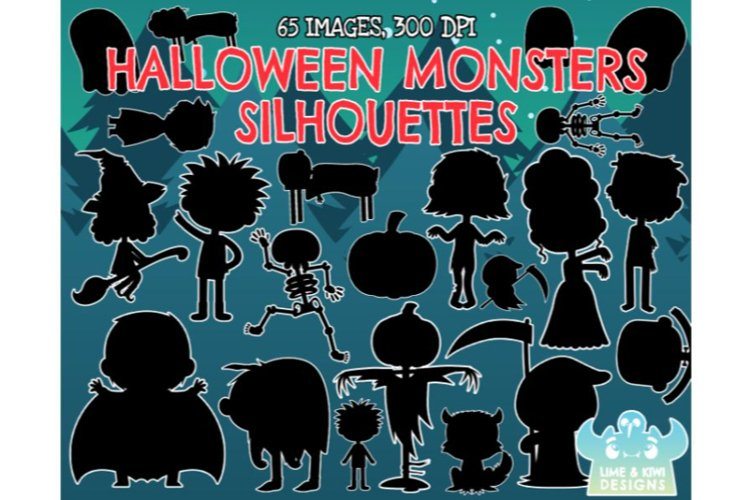 Halloween Monsters Silhouettes - Lime and Kiwi Designs