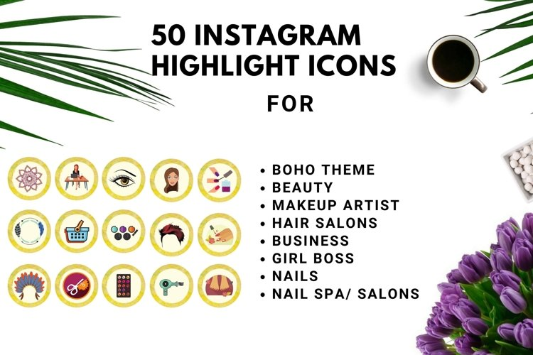 Instagram Story Highlight Icons Yellow Watercolor- Set of 50 example image 1