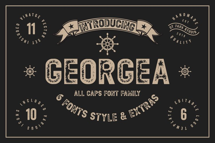 GEORGEA ALL CAPS FONT FAMILY WITH EXTRAS example image 1