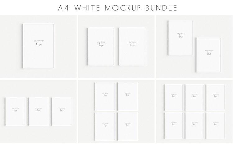 A4 White Frames Mockup Bundle JPG PNG PSD Smart Object/M128 example image 1