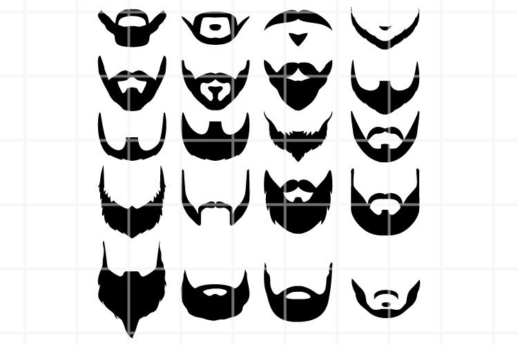 Beard SVG. Beard cut file. Barbershop cutting set. Vector.