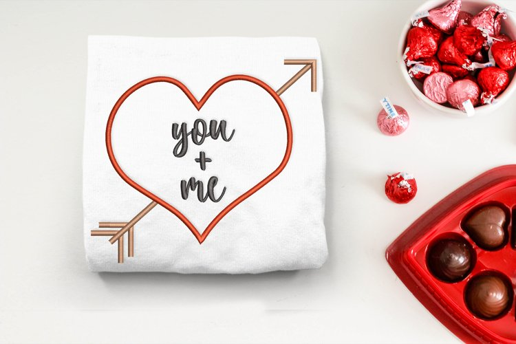 You and Me Heart with Arrow Embroidery Design