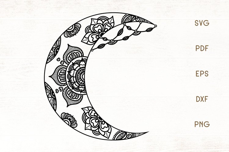 Floral Crescent Moon SVG - Moon SVG Cut File example image 1
