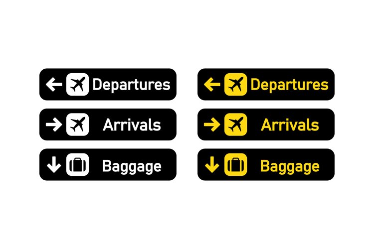 Departures, arrivals and baggage sign. Airport sign. Vector