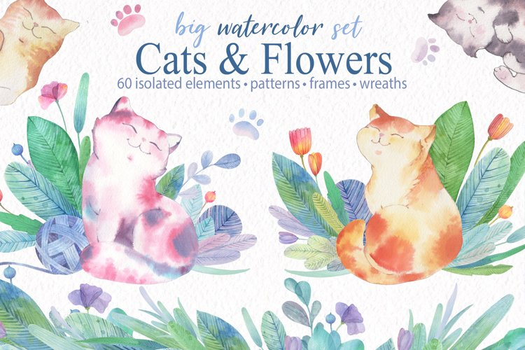 Watercolor Cats Clipart. Cute Cats seamless patterns