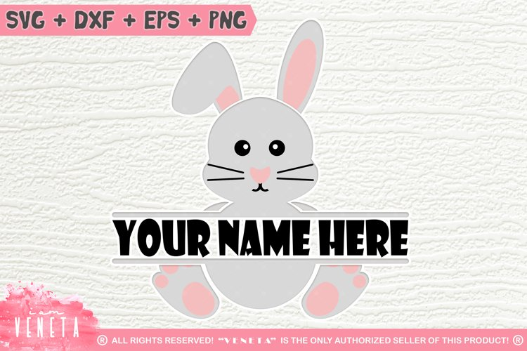 Cute Bunny Frame | Rabbit Monogram | SVG, DXF Cutting File example image 1