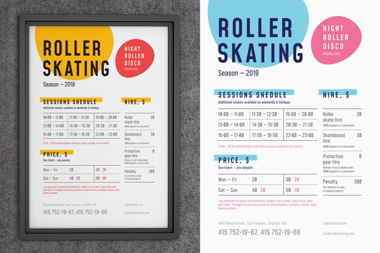 Roller Skating Schedule Poster example image 1